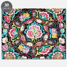 vibrant colorful flowers bohemian Puzzle