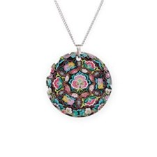 vibrant colorful flowers boh Necklace Circle Charm