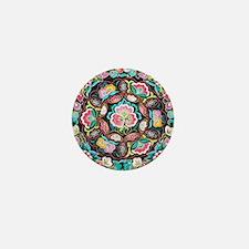 vibrant colorful flowers bohemian Mini Button