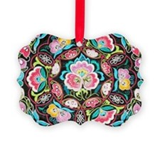 turquoise pink flowers bohemian Ornament