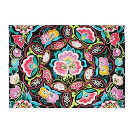 turquoise pink flowers bohemian rug - Turquoise Area Rug