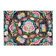 turquoise pink flowers bohemian 5'x7'Area Rug