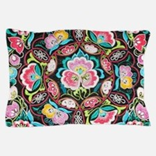 turquoise pink flowers bohemian Pillow Case