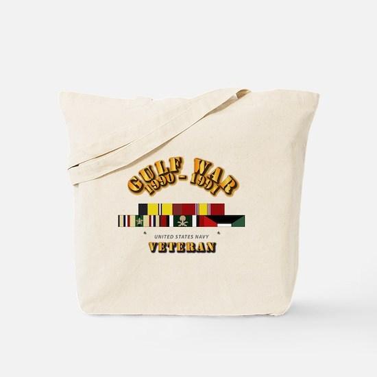 Navy - Gulf War 1990 - 1991 w Svc Ribbons Tote Bag