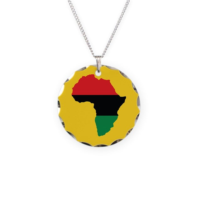 Red black and green africa flag necklace circle c by for Red black and green jewelry