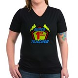 Super 1st grade teacher Womens V-Neck T-shirts (Dark)