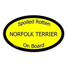 Spoiled Norfolk Terrier On Board Oval Decal