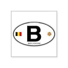 """Cute Belgium flag Square Sticker 3"""" x 3"""""""