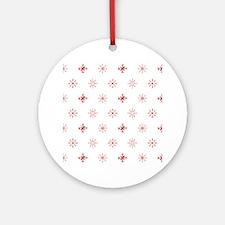 Christmas Snowflakes: Red Backgroun Round Ornament