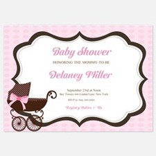 Baby Shower Pram Pink Polka Dot Invitations