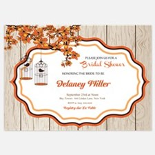Rustic Fall Floral Bridal Shower Invitations