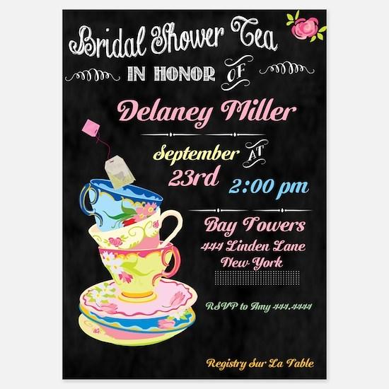 Chalkboard Bridal Tea Party Shower Invitations
