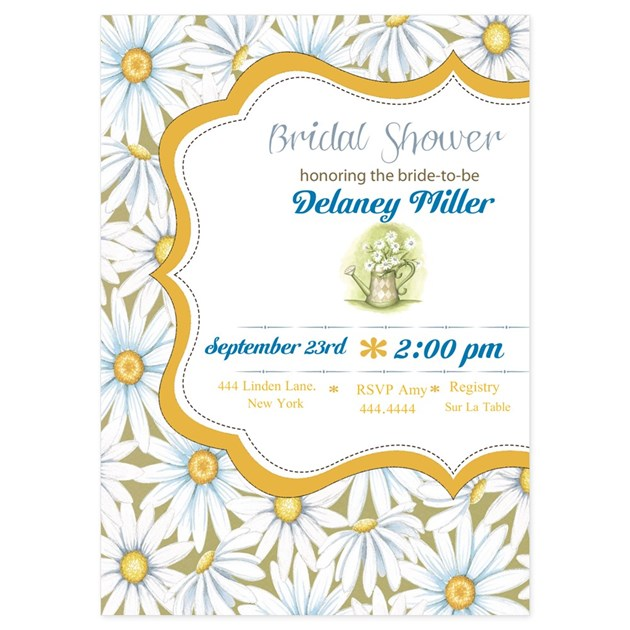 Rustic Daisy Wedding Invitations: Rustic Daisy Bridal Shower Invitations By 3FoursDesign