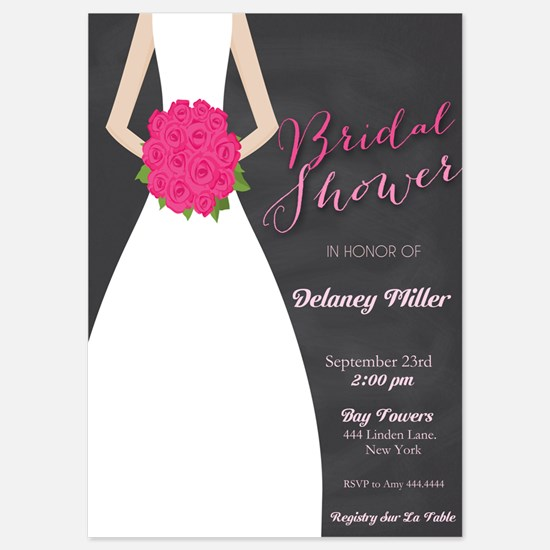 Chalkboard Bridal Shower Bride Invitations