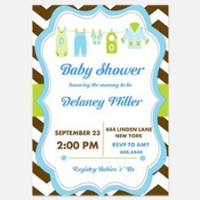 Baby Shower Chevron Clothesline Invitations
