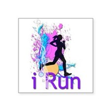 """Cute I run like a girl try to keep up Square Sticker 3"""" x 3"""""""