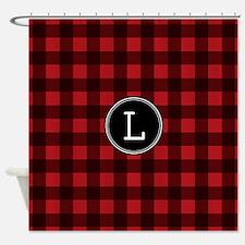 L Monogram Buffalo Plaid Shower Curtain