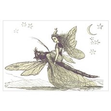 Fairy on a Dragonfly Poster