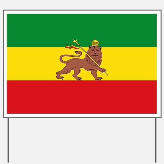 Ethiopia Flag Lion of Judah Rasta Reggae Yard Sign