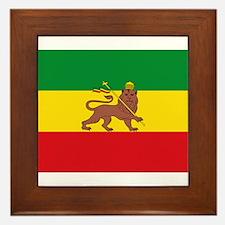 Ethiopia Flag Lion of Judah Rasta Reggae Framed Ti