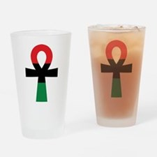 Red, Black & Green Ankh Drinking Glass