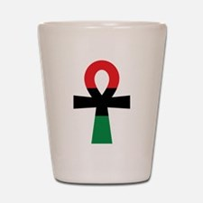 Red, Black & Green Ankh Shot Glass