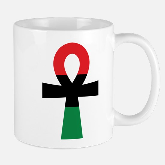 Red, Black & Green Ankh Mugs