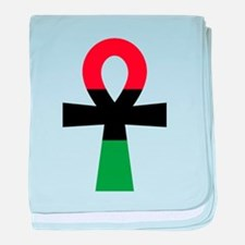 Red, Black & Green Ankh baby blanket