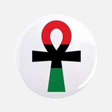Red, Black & Green Ankh Button