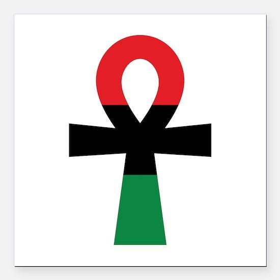 "Red, Black & Green Ankh Square Car Magnet 3"" x 3"""