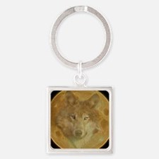 Wolf Moon Square Keychain