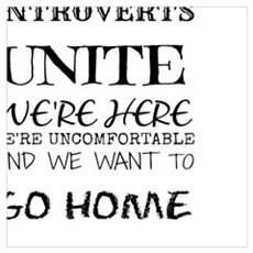 Introverts Unite Black Poster