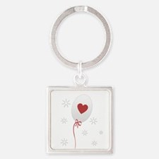 Red Balloon Celebration Square Keychain