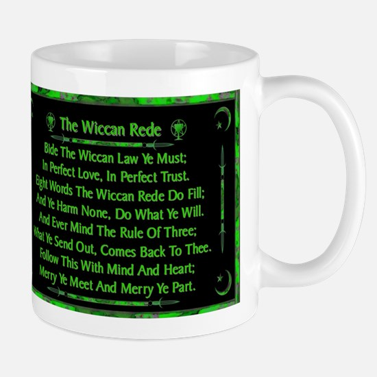 Rede in Green on Black Mugs