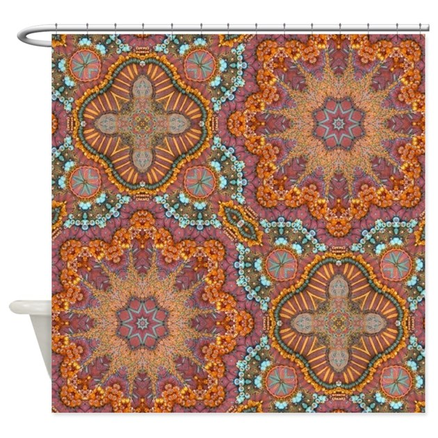 Turquoise Orange Bohemian Moroccan Shower Curtain By