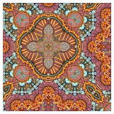 turquoise orange bohemian moroccan  Poster