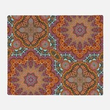 turquoise orange bohemian moroccan  Throw Blanket
