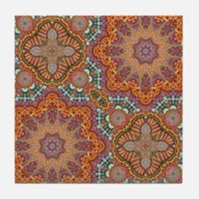 turquoise orange bohemian moroccan  Tile Coaster