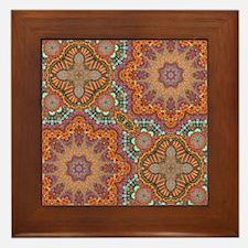 turquoise orange bohemian moroccan  Framed Tile