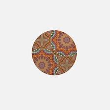 turquoise orange bohemian moroccan  Mini Button