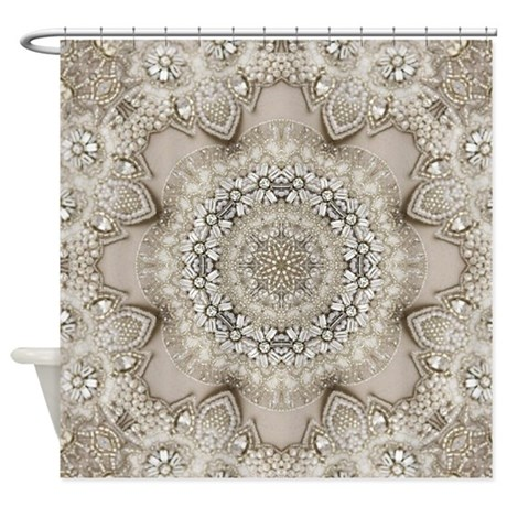 Pearl Beige Lace Girly Mandala Shower Curtain By Listing
