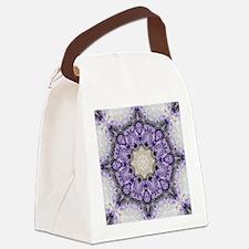 purple lilac mandala bohemian Canvas Lunch Bag
