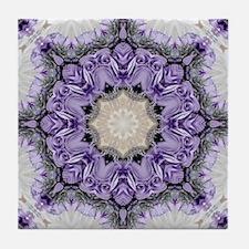 purple lilac mandala bohemian Tile Coaster