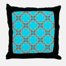 moroccan pattern turquoise Quatrefoil Throw Pillow