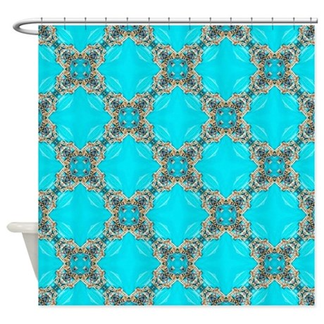 Moroccan Pattern Turquoise Quatrefo Shower Curtain By Listing Store 62325139