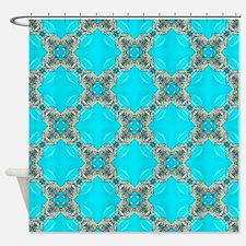 moroccan pattern turquoise Quatrefo Shower Curtain