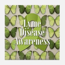 Lyme Disease Awareness Butterfly Tile Coaster
