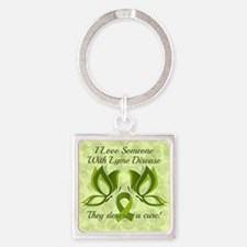 I Love Someone with Lyme Disease Square Keychain