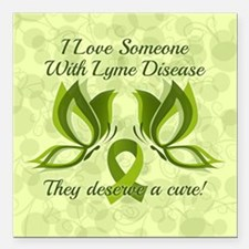 """I Love Someone with Lyme Square Car Magnet 3"""" x 3"""""""