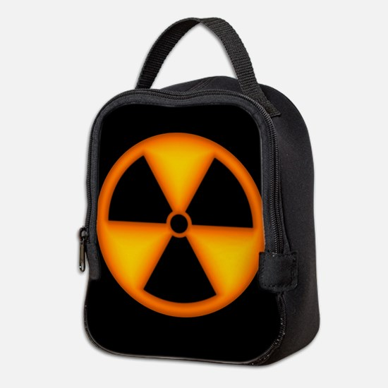 Orange Radiation Symbol Neoprene Lunch Bag